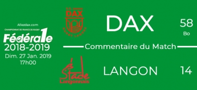 FED1 - 2018/2019 - J15 : DAX - LANGON : Commentaire du match
