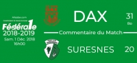 FED1 - 2018/2019 - J11 - DAX - SURESNES : Commentaire du match
