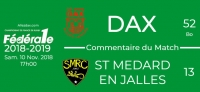 FED1 - 2018/2019 - J9 - DAX - St MEDARD-EN-JALLES : Commentaire du match