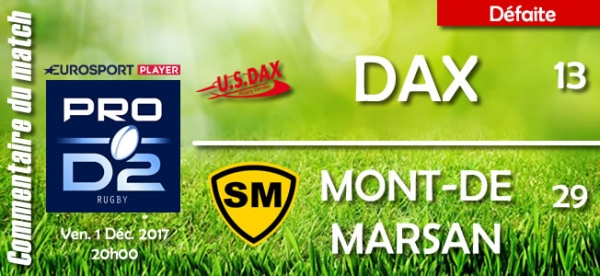 2017-2018 J14 : Dax - Mont-de-Marsan : Commentaires du match